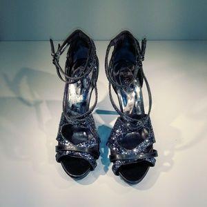 Guess silver sparkle sandals sz 9.5